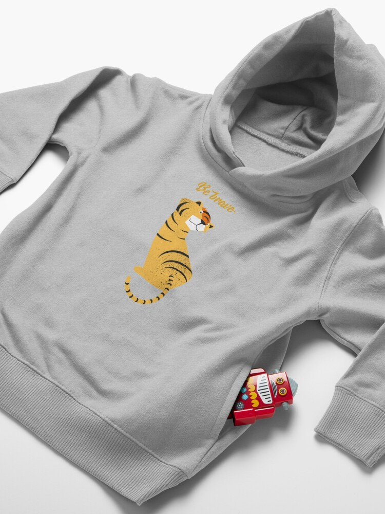 Alternate view of Illustration of children's room with tiger and typography - Be brave tiger Toddler Pullover Hoodie