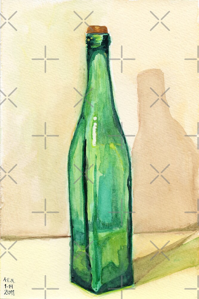 Green Glass Bottle by Amy-Elyse Neer