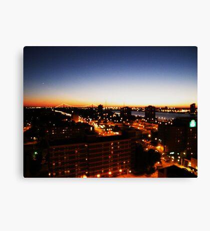 Windsor/Detroit Skyline at Sunset I Canvas Print