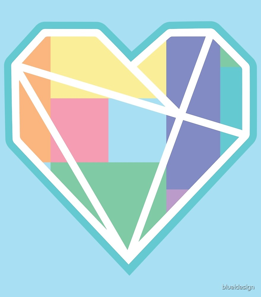Love Heart Pastels Geometric Nordic by blueidesign