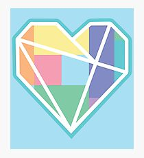 Love Heart Pastels Geometric Nordic Photographic Print