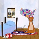 Oliver Loves To Travel - Bedroom, Map, and Postcards by Colleen Cornelius