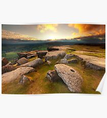 Curbar Edge Sunset Poster