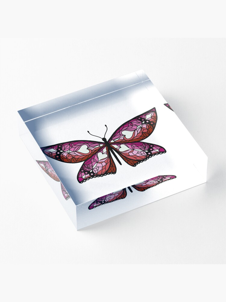 Alternate view of Fly With Pride: Lesbian Flag Butterfly Acrylic Block