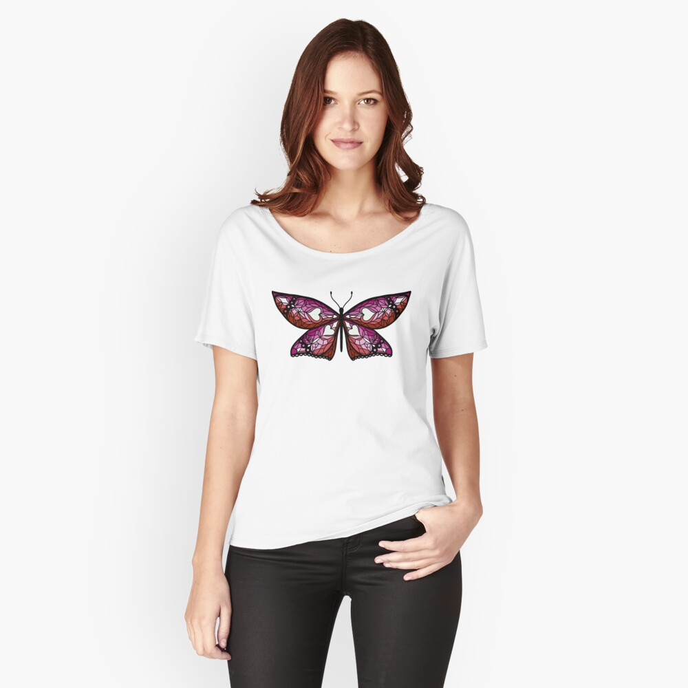 Fly With Pride: Lesbian Flag Butterfly Relaxed Fit T-Shirt