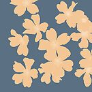 Nude primroses floral pattern on blue by by-jwp