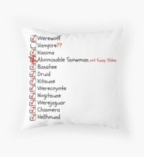 List of Supernatural in Beacon Hills Throw Pillow