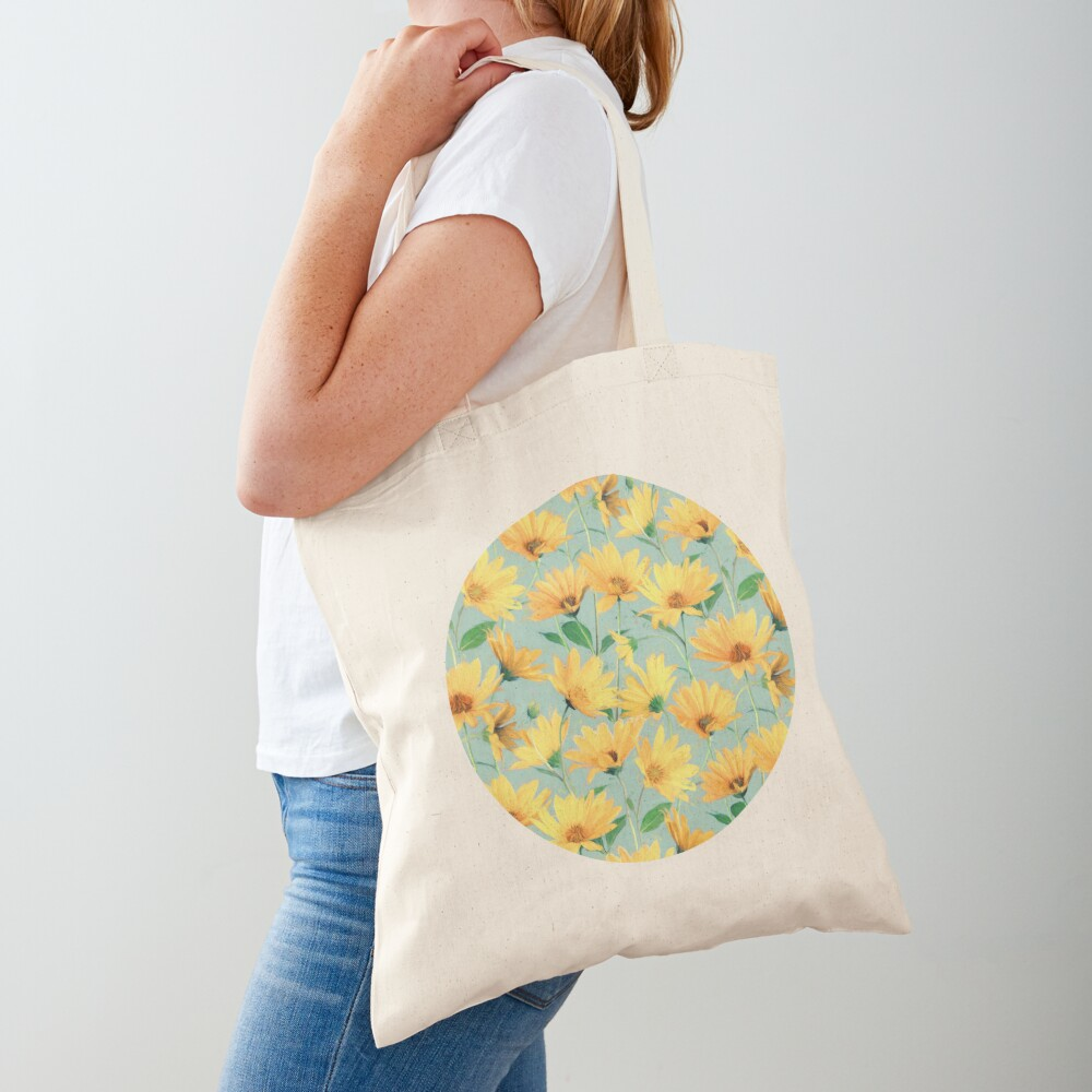 Painted Golden Yellow Daisies on soft sage green Tote Bag