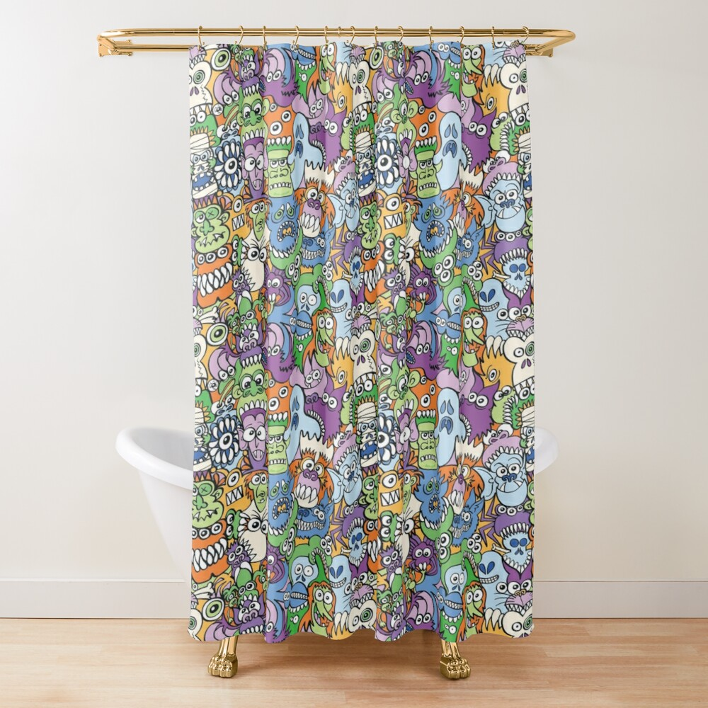 Halloween stars get crazy and voracious in a spooky pattern design Shower Curtain