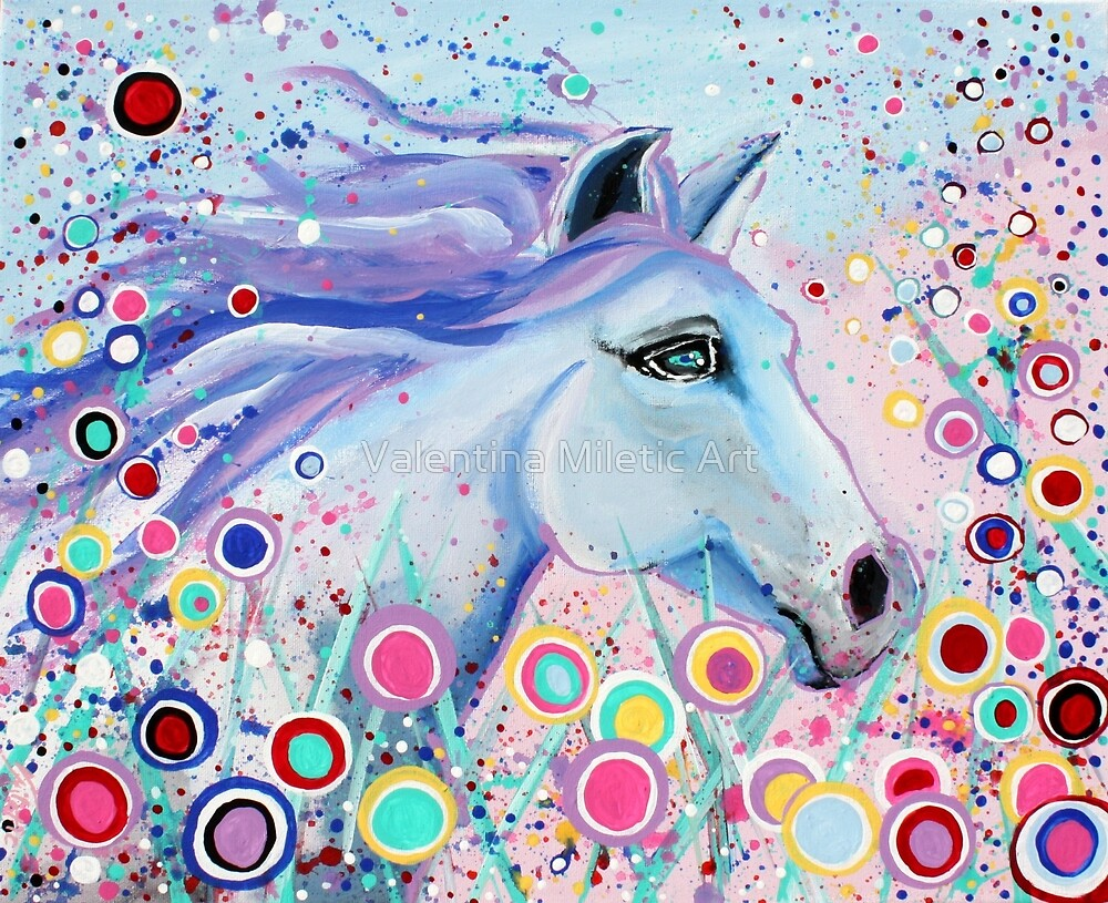 Dreaming In Color Whimsical Horse Art by Valentina Miletic by Valentina Miletic Art