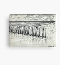 THE NORTH SEA BEACH - PEN DRAWING Canvas Print