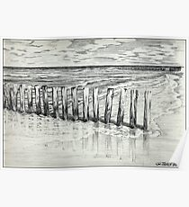 THE NORTH SEA BEACH - PEN DRAWING Poster
