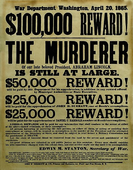 John Wilkes Booth Wanted Poster by warishellstore