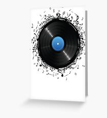 33 Vinyl Record Music Notes Greeting Card
