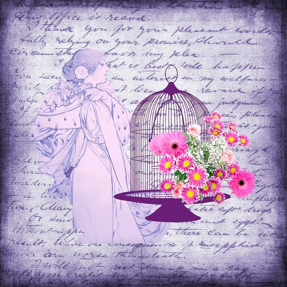 Vintage Lady Birdcage & Flowers Purple Leter by moondreamsmusic