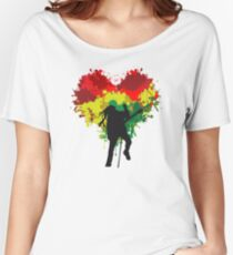 Bob Marley Dreadlock Rasta Heart Women's Relaxed Fit T-Shirt
