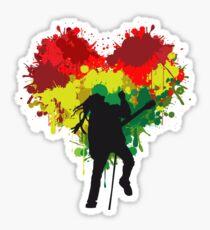 Bob Marley Dreadlock Rasta Heart Sticker