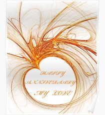 ♥ GOLD ♥ HEART ♥ - ♥ HAPPY ♥ ANNIVERSARY ♥ Poster