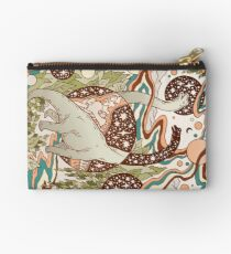 Jurassic Portal | Retro Rainbow Palette | Dinosaur Science Fiction Art Zipper Pouch