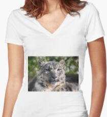 Snow Leopard Fitted V-Neck T-Shirt