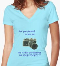 Are you pleased to see me. Olympus. Women's Fitted V-Neck T-Shirt