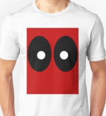 Red field behind black ellipses and white circles. Unisex T-Shirt