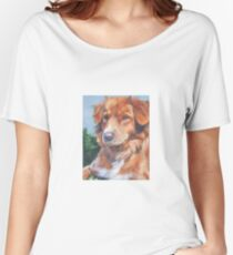Nova Scotia Duck Tolling Retriever Fine Art Painting Women's Relaxed Fit T-Shirt