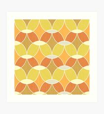 Retro Orange Tile Pattern  Art Print