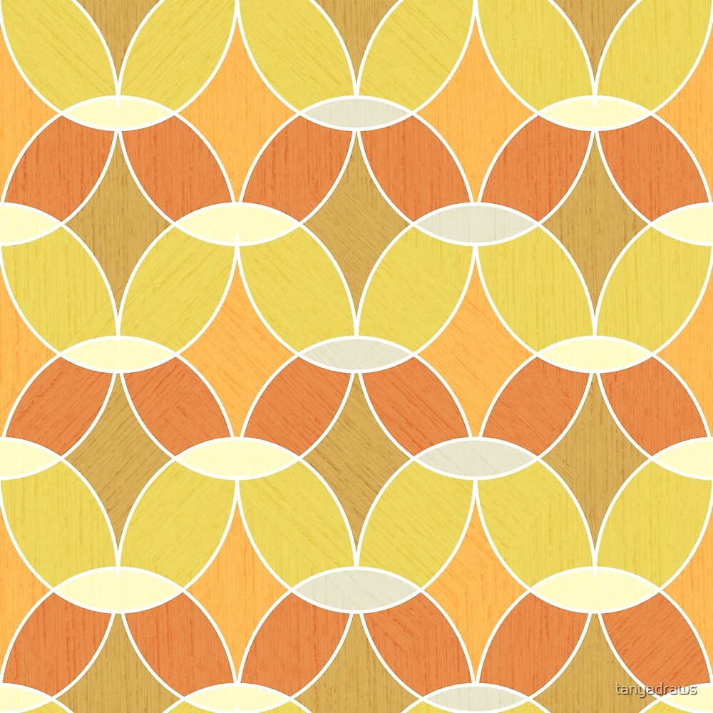 Retro Orange Tile Pattern  by tanyadraws