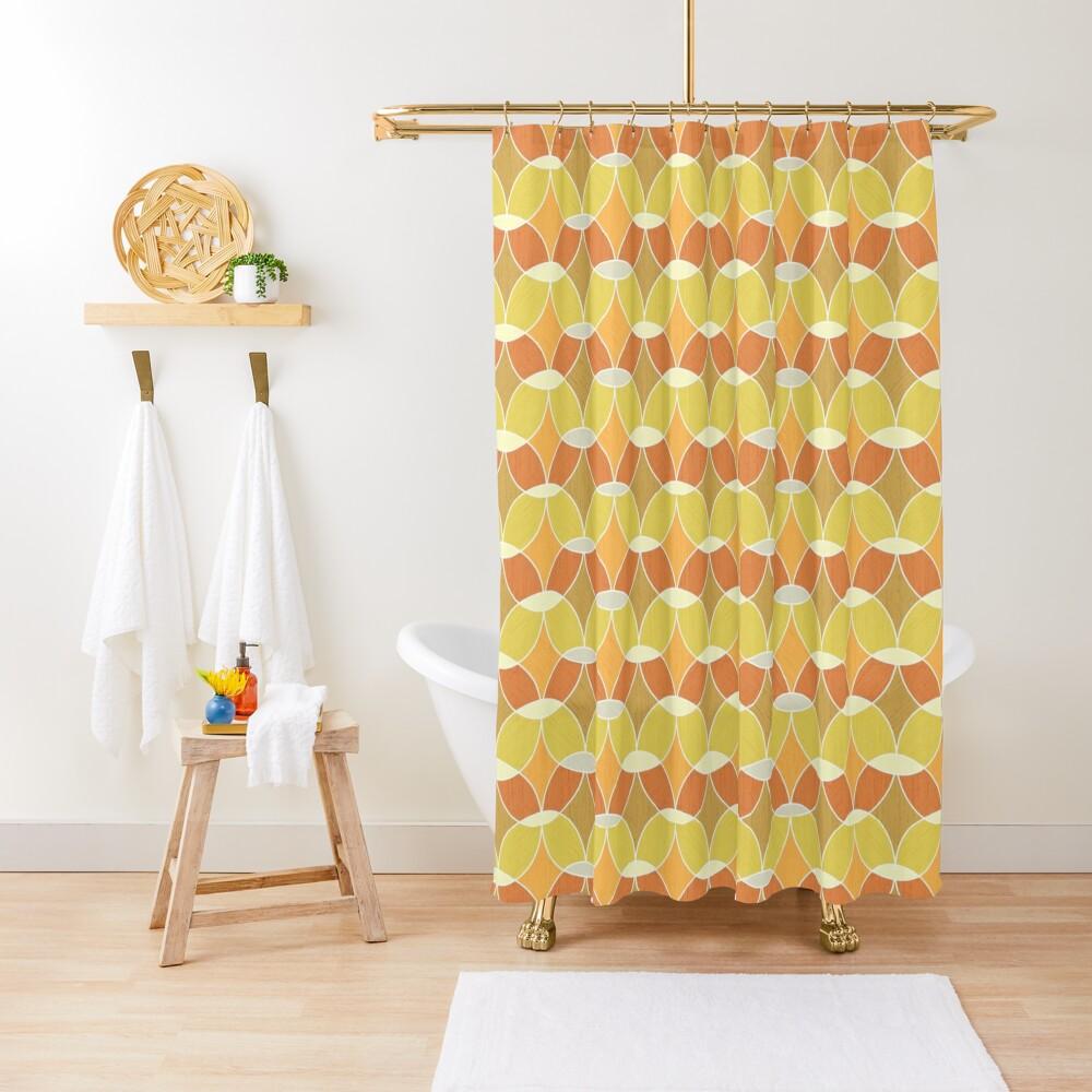 Retro Orange Tile Pattern  Shower Curtain