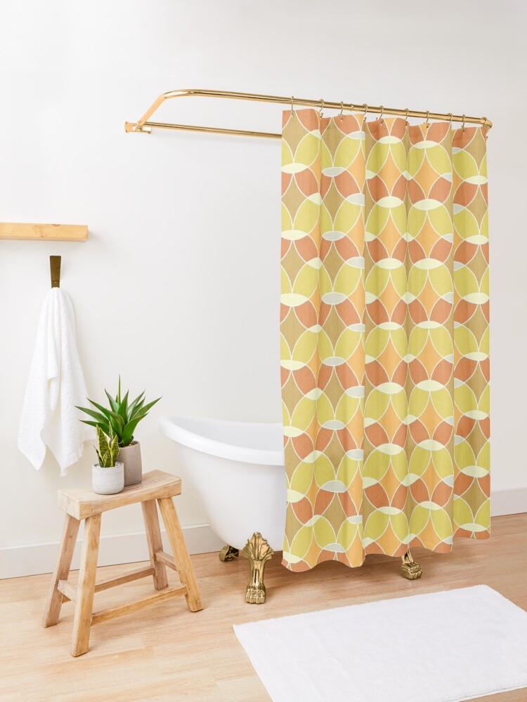 Alternate view of Retro Orange Tile Pattern  Shower Curtain