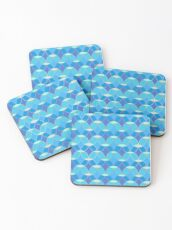 Blue & Gold Oval Tile Pattern  Coasters