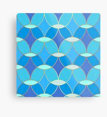 Blue & Gold Oval Tile Pattern  Metal Print