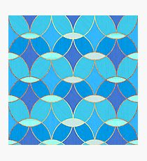 Blue & Gold Oval Tile Pattern  Photographic Print