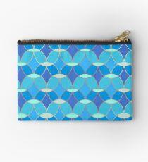 Blue & Gold Oval Tile Pattern  Zipper Pouch