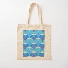 Blue & Gold Oval Tile Pattern  Cotton Tote Bag