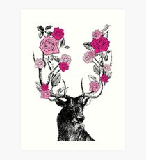 The Stag and Roses Art Print