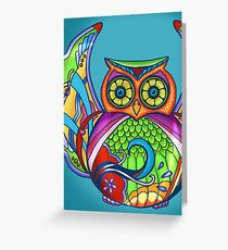 Jeweled Owl Cropped Greeting Card