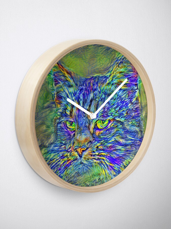 Alternate view of Artificial neural style Post-Impressionism cat Clock