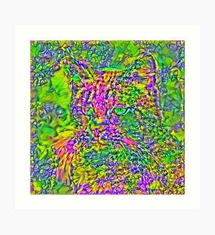 Artificial neural style Flower cat Art Print