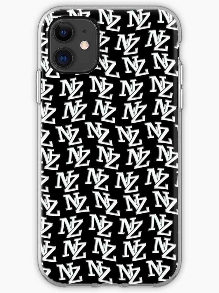 Nz Letters New Zealand White On Black Wallpaper Iphone Case By Stuwdamdorp