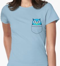 Pocket owl Womens Fitted T-Shirt