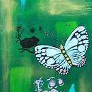 White Butterflies with Cherry Blossoms. by Brita Lee