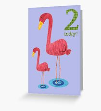 Age Two Flamingo Greeting Card