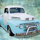 White on Blue Pickup by Hawley Designs