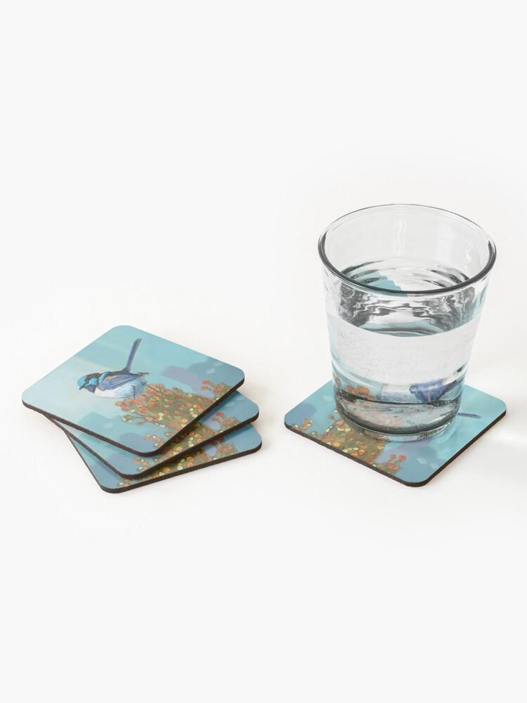 Alternate view of Blue Wren on Bush Coasters (Set of 4)