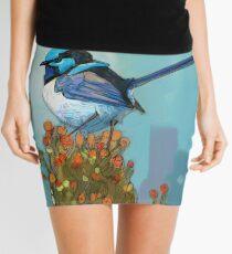 Blue Wren on Bush Mini Skirt