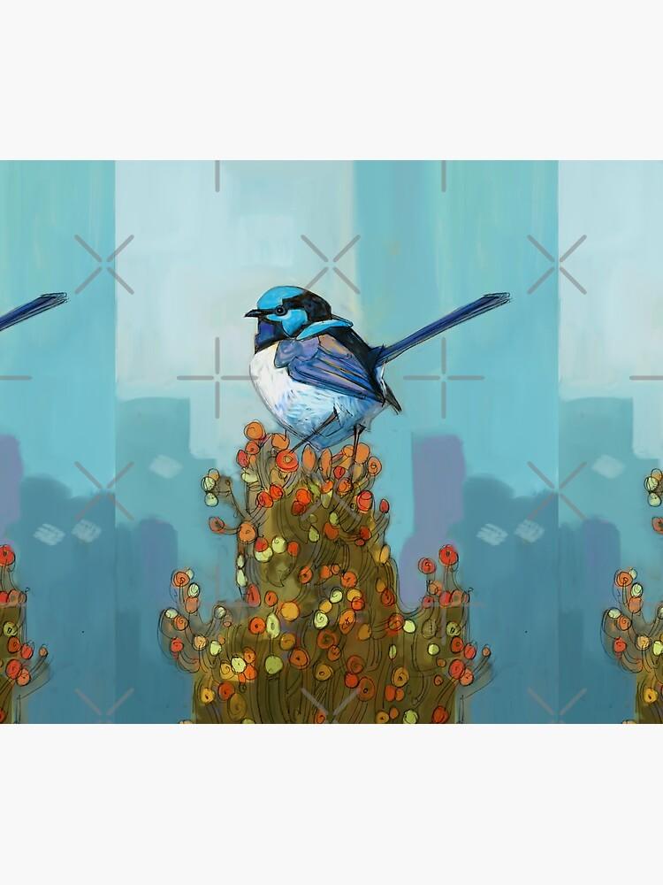 Blue Wren on Bush by bcedraws