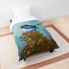 Blue Wren on Bush Comforter