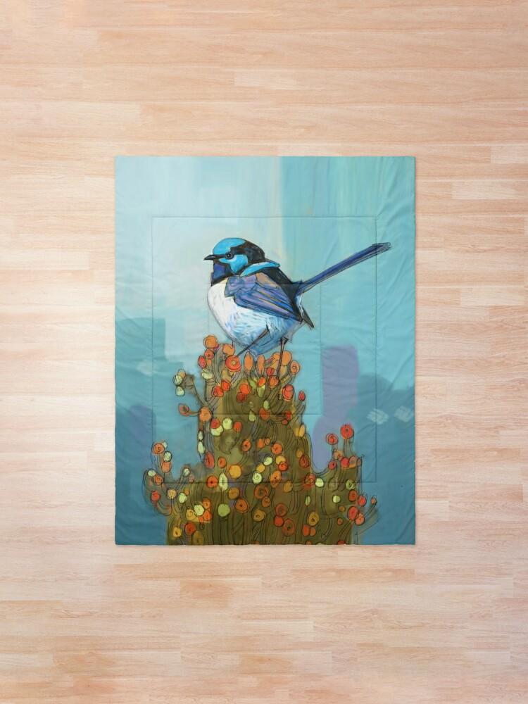 Alternate view of Blue Wren on Bush Comforter
